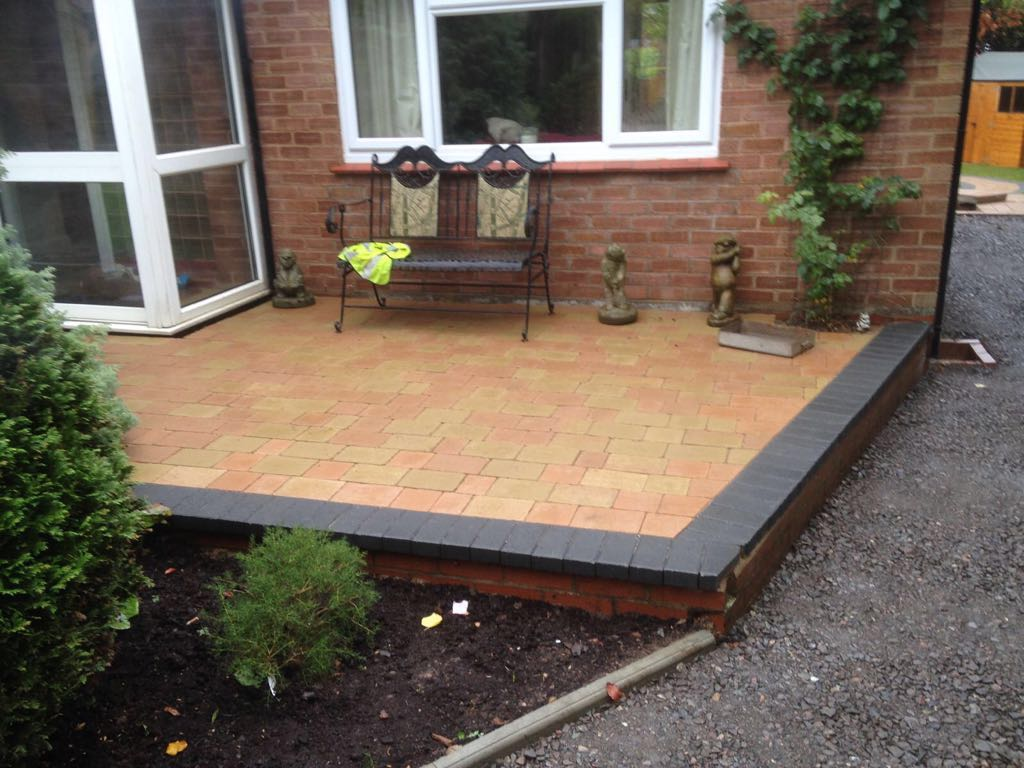 New patio on the back of a house in Redditch Worcestershire UK
